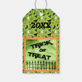 "Personalize: ""Trick or Treat"" Halloween on Green Gift Tags"