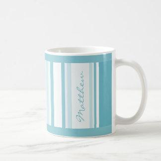 Personalize: Turquoise Random Stripes Pattern Coffee Mug