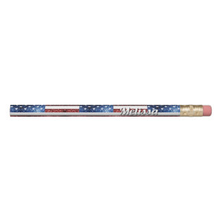 Personalize USA flag red blue sparkles glitters Pencil