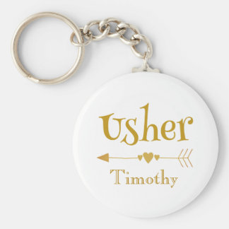 Personalize Usher Wedding Favor Gift Keychain