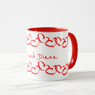 Personalize:  Valentines Red Heart Stripes Mug
