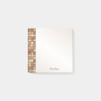 Personalize Variegated Brown Decorative Tile Post-it Notes
