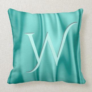 Personalize:  Vibrant Aqua Faux Satin Fabric Throw Pillow