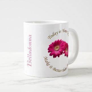 Personalize Vibrant Rose Pink Gerbera Daisy Mug Jumbo Mug