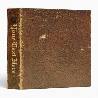 Personalize Vintage Brown Leather 3 ring binder