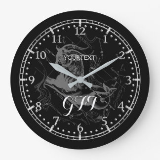 Personalize Vintage Capricorn Constellation Zodiac Large Clock