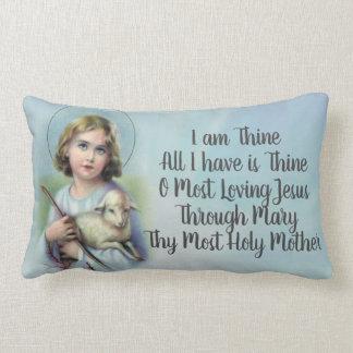 Personalize Vintage Child Jesus with lamb & prayer Lumbar Pillow