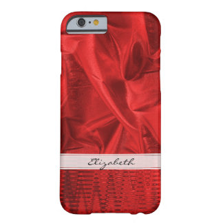 Personalize: Vivid Red Faux Metallic Lame' Fabric Barely There iPhone 6 Case