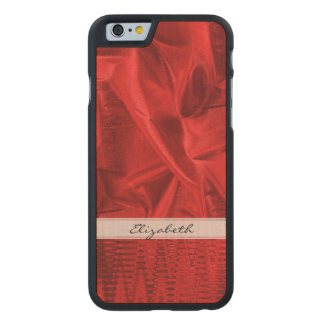 Personalize: Vivid Red Faux Metallic Lame' Fabric Carved® Maple iPhone 6 Slim Case
