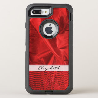 Personalize: Vivid Red Faux Metallic Lame' Fabric OtterBox Defender iPhone 7 Plus Case