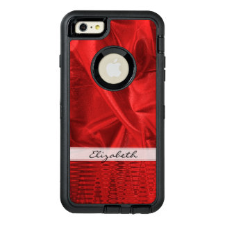 Personalize: Vivid Red Faux Metallic Lame' Fabric OtterBox iPhone 6/6s Plus Case