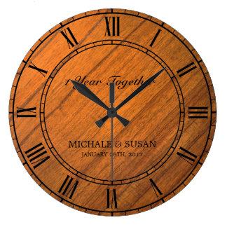 Personalize Wedding Anniversary (Wood Background) Large Clock