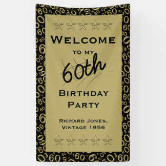 Personalize: Welcome 60th Birthday Party - Black Banner