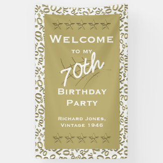 Personalize: Welcome 70th Birthday Party White Banner