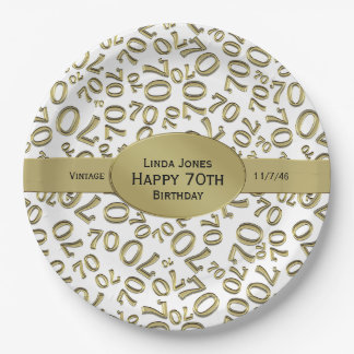 Personalize:  White and Gold 70th Birthday Theme Paper Plate