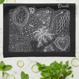 Personalize: White/Black Random Doodle Art Fun Kitchen Towel