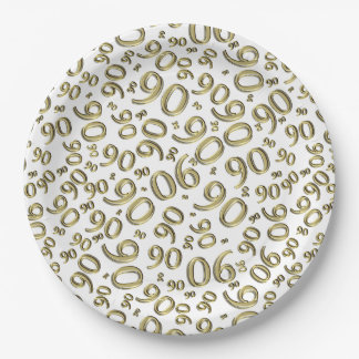 Personalize:  White/Gold 90th Birthday Party Theme Paper Plate