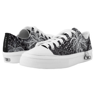 Personalize: White Ink/Black Wearable Doodle Art Low-Top Sneakers