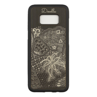 Personalize: White Ink on Black Fun Doodle Art Carved Samsung Galaxy S8 Case