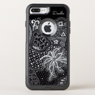 Personalize: White Ink on Black Fun Doodle Art OtterBox Commuter iPhone 8 Plus/7 Plus Case