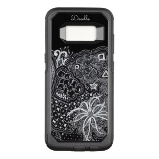 Personalize: White Ink on Black Fun Doodle Art OtterBox Commuter Samsung Galaxy S8 Case