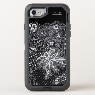 Personalize: White Ink on Black Fun Doodle Art OtterBox Defender iPhone 8/7 Case