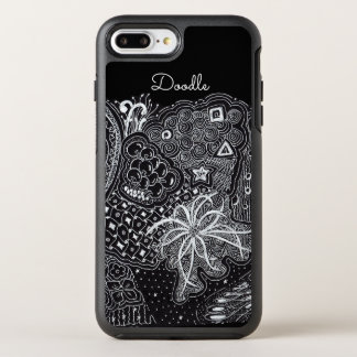 Personalize: White Ink on Black Fun Doodle Art OtterBox Symmetry iPhone 8 Plus/7 Plus Case