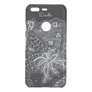 Personalize: White Ink on Black Fun Doodle Art Uncommon Google Pixel Case