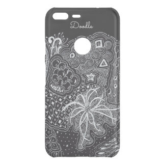 Personalize: White Ink on Black Fun Doodle Art Uncommon Google Pixel XL Case