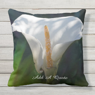 Personalize White Lily (Calla) Outdoor Pillow