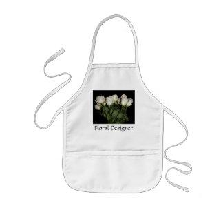 Personalize White Long-Stem Roses Floral Designer Kids Apron