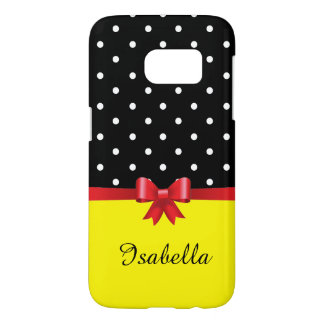 Personalize white polka dots red bow yellow samsung galaxy s7 case