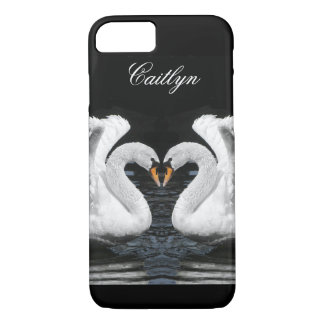 Personalize: White Swans Mirror Image Picture iPhone 7 Case