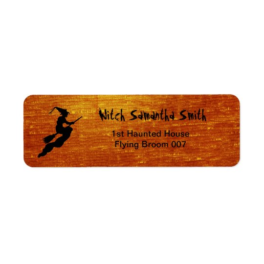 Personalize: Witch in Flight on Broom Silhouette Return Address Label