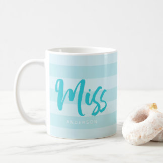 Personalize with Name Miss Preppy Blue Stripes Coffee Mug