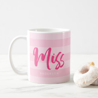 Personalize with Name Miss Preppy Pink Stripes Coffee Mug