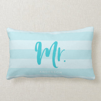 Personalize with Name Mr Preppy Blue Stripes Lumbar Pillow
