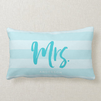 Personalize with Name Mrs Preppy Blue Stripes Lumbar Pillow
