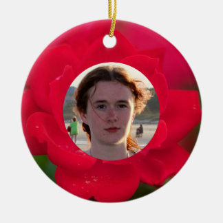 (Personalize) With Photos Red Rose in Bloom Dew Round Ceramic Ornament