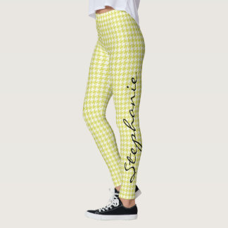 Personalize:  Yellow and White Houndstooth Pattern Leggings