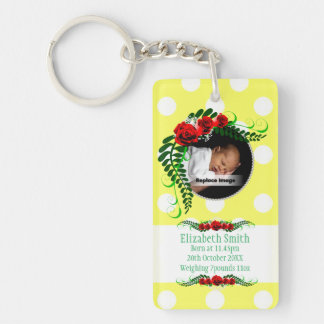 Personalize Yellow Baby Girl Memento Roses Pearls Single-Sided Rectangular Acrylic Keychain