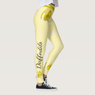 Personalize:  Yellow Daffodils Distorted Stripes Leggings