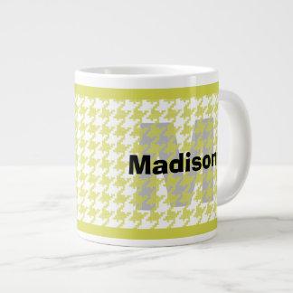 Personalize:  Yellow/White Houndstooth Pattern Large Coffee Mug