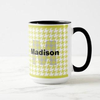 Personalize:  Yellow/White Houndstooth Pattern Mug