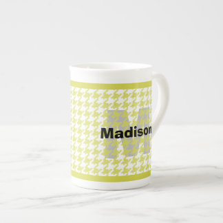 Personalize:  Yellow/White Houndstooth Pattern Tea Cup