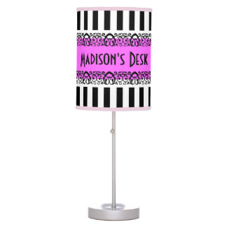 Personalize Your Desktop Fancy Striped Hot Pink Table Lamp