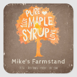 Personalize Your Maple Syrup Bottle Custom Label Square Sticker