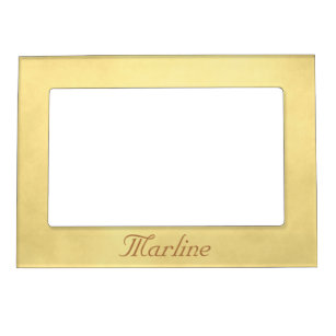 Personalize your name Gold parchment Magnetic Picture Frame