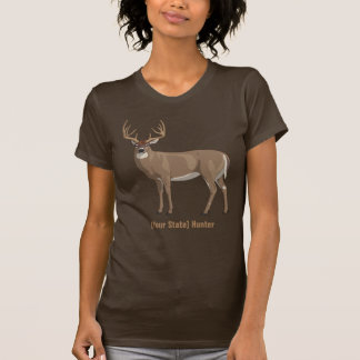 Personalize Your State Whitetail Deer Buck Hunter T-Shirt