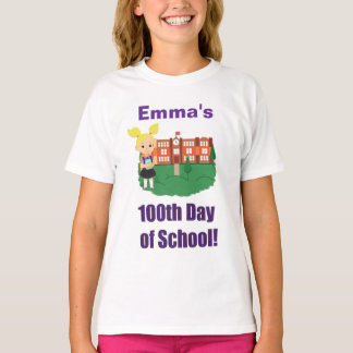 Personalized 100th Day of School, Girl, Blonde T-Shirt